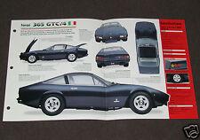 1970-1971 FERRARI 365 GTC/4 Car SPEC SHEET BROCHURE PHOTO BOOKLET