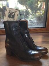 NEW FRYE WOMEN'S BLACK BROWN BURNISHED LEATHER LACE-UP ANKLE BOOTS SIZE 6 B