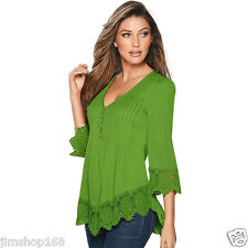 Women Lady Lace Crochet Long Sleeve Shirt Casual Loose Blouse Pullover Tops Lot