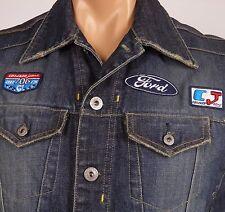 """Denim Vest Crocker Jeans Racing Team Mens 44"""" Chest Ford Turbo Blue Jeanstation"""