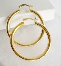 "18K GOLD Filled Bold BOHEMIAN STYLE 5mm Wide Smooth PLAIN Hoop EARRINGS 2"" Round"