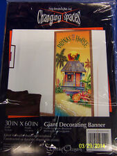 Drinks are on the House Luau Beach Cocktail Party Wall Decoration Plastic Banner