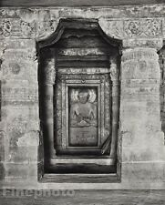 1928 Original INDIA Ajanta Buddha Statue Central Shrine Cave Photo By HURLIMANN
