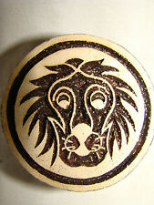 INDIAN WOOD PRINTING BLOCK HANDMADE SIGN OF THE ZODIAC LEO, 5CM, NEW AND UNUSED