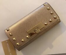 NWT Michael Kors Pale Gold Callie Studded Saffiano Leather Carryall Wallet