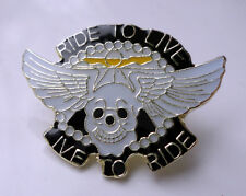 ZP92 Ride to Live  Live to Ride Biker Motorcycle Lapel Pin Badge Skull Wings