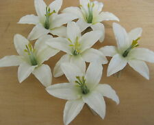"Six Piece Lot 3.5 "" Cream White Lily Silk Flower Hair Clips, Wedding,Prom, Dance"