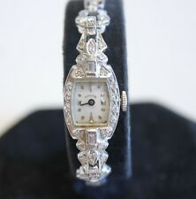 Vintage Ladies Hamilton Platinum & 14k Diamond Wrist Watch