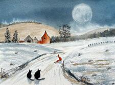 Original Pintura Acuarela: animales: Fox y Gatos Granja/Paisaje