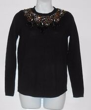 H&M Ladies Wool Blend Long Sleeves Sequin & Beaded Embroidery Sweater Black XS