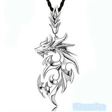 White Gold Plated Stainless Steel Dragon Pendant Men Necklace With Leather Chain