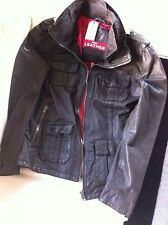Superdry Brad Hero Leather Jacket Brown XL New