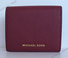 $88 Michael Kors Jet Set Travel Carryall Card Case Wallet Saffiano Leather Plum