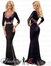 Womens Evening Dress Maxi Ball Gown Prom Party Formal Long Black Pink Size 1214