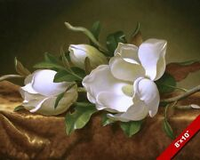 MAGNOLIA BLOSSOMS FLOWERS ON GOLD VELVET OIL PAINTING ART REAL CANVAS PRINT