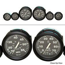FARIA EURO SERIES BLACK / WHITE 6 PIECE OUTBOARD SUZUKI BOAT GAUGE SET