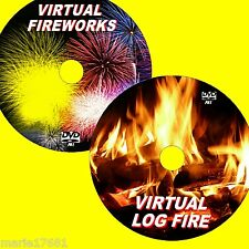 RELAXING VIRTUAL LOG FIRE + VIVID  FIREWORKS ON FLATSCREEN TV/PC NEW 2 DVDS