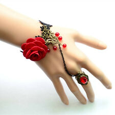 Lovely Women Gothic Retro Vintage Vampire Tassels Roses Ring Lace Bracelet New