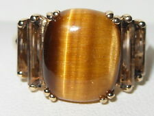 Beautiful QVC 9ct Yellow Gold Tigers Eye & Smokey Quartz gemstone Statement ring