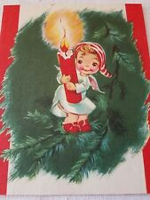 Beautiful Vintage Christmas Card USA Angel Baby Holding Candle Tree Stocking Hat