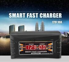 12V 10A Smart Car Motorcycles Lead-acid Battery Charger LCD Display with EU Plug