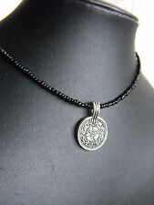 ETHNIC style NECKLACE glass beads silver COIN CHARM black goth steampunk 15-17''