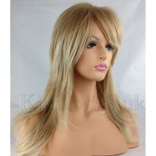 COMPLET FEMMES CHEVEUX PERRUQUE 2 TONS BLOND FLICK & STRATIFIÉ LONG B95