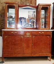 Antique French Louis XVI Style Marble Top Vitrine Display China Cabinet Server