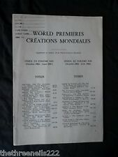INTERNATIONAL THEATRE INSTITUTE WORLD PREMIER - INDEX TO VOL 13 OCT 1961 to JUNE