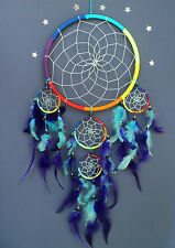 LARGE RAINBOW DREAM CATCHER beautiful quality DREAMCATCHER with silver centre