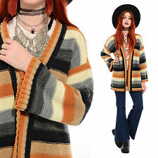Vintage 70s STRIPED Knit Hippie Boho BELL SLEEVE Cardigan Sweater Jacket Coat