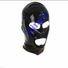 Latex Hood Full Mask Open Mouth & Eyes 3 Holes Stretchy Black Gimp Mask Hood