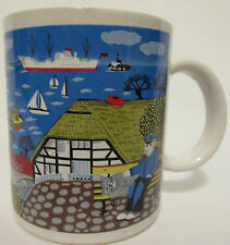 Nautical Scene Uniform Office Petting Cat Boats Ocean View Village Mug Cup Ceram