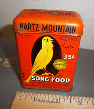 vintage Hartz mountain Bird Song food tin, great graphics & colors
