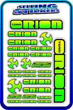 TEAM ORION ESC MOTOR BATTERY LIPO RC DRIFT STICKER DECALS 1/8 1/10 GREEN YELLO B