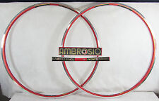 Vintage NOS AMBROSIO EXCELLENCE TQB 700c 32h RED CLINCHER RIM SET Mint Old Stock