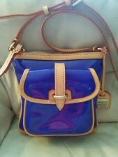 NEW NWOT Dooney & Bourke Blue Patent Leather Letter Carrier Crossbody Purse $168