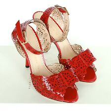 CHARLOTTE OLYMPIA $995 laser cut out shoes red leather Pilar high heels 36.5 NEW