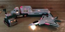 Lot of 3 Hess Toys Hess Gasoline Semi Truck Toy Hauler Jet Aircraft and Tractor