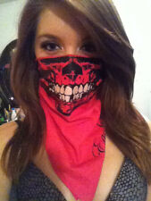 FUCHSIA HOT PINK SKULL BANDANA FACE RAVER MASK BIKER SKI DAY GLOW SNOW BARBIE
