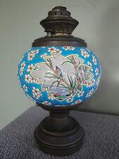 Lampe à pétrole en émaux de LONGWY à décor de fleurs et marecages