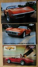 CHEVROLET CORVETTE STINGRAY orig 1971 1972 1973 USA Mkt Large Format Brochures