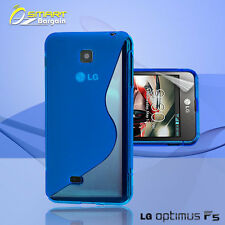 Blue S Curve Gel Case+ Free SP for LG Optimus F5 4G P875 Jelly Tpu soft cover