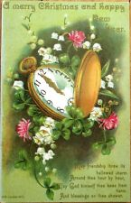 Pocketwatch 1910 Christmas & New Year Postcard - Color Litho