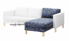 Ikea Cover for KARLSTAD Add-On Chaise Lounge Slipcover Bladåker Blue Beige, NIB