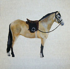 "18"" TEX EX ORIGINAL DUN HORSE PONY CUSHION PANEL LINEN HORSES RIDING SADDLE"