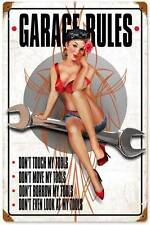 New! Garage Rules Girl Vintage Licensed Metal Sign Decor by Ralph Burch RB081