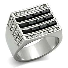 GIFTS FOR MEN Size 9 Stainless Steel Silver Tone Black & Top Grade Crystal Ring