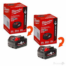 (2) MILWAUKEE M18B4 18V RED LITHIUM-ION BATTERY 4.0AH GENUINE AUS STOCK IN BOXES