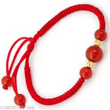 ONSALE 999 GOLD 24K Yellow Gold Beaded knitted Bracelet / Red Agate Beads